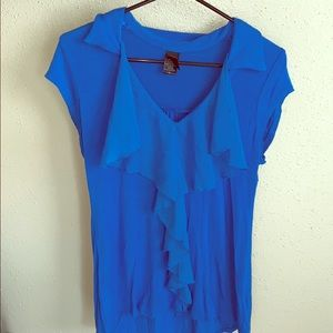 Blue tulle blouse